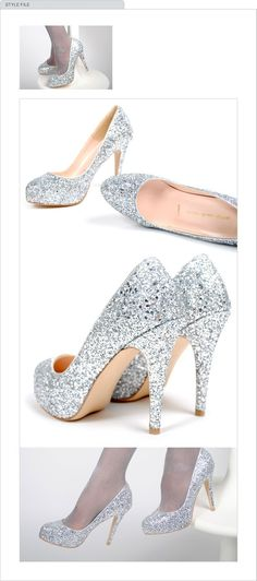 Great way to sparkle up a simple white wedding dress for the new year theme #weddingshoes