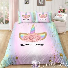 Dreaming Unicorn Lash Bedding Set is part of Unicorn bedding Our unique Duvetalso called Duna, Quilt will brighten up your entire bedroom and elevate your decor to a whole new level Choose your siz - Unicorn Bed Set, Unicorn Rooms, Unicorn Themed Room, Real Unicorn, Rainbow Unicorn, Bedroom Furniture Sets, Bedroom Sets, Lounge Furniture, Master Bedroom