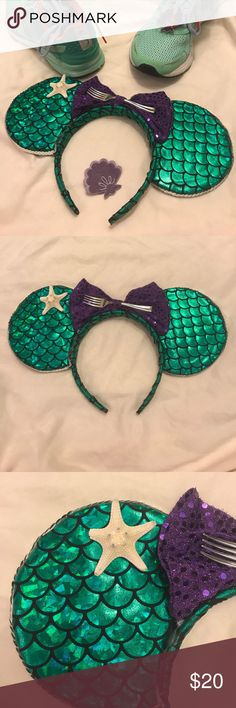 Little Mermaid Minnie Mouse Ears PLEASE READ DESCRIPTION BEFORE PURCHASING. I've only worn these ears once but they're a little worse for wear. All of the parts are still there, however, one of the legs on the starfish is broken & both ears must be reattached/secured with a hot glue gun! It's an easy fix but I just don't have the time to do it right now so I'm sending them to a Little Mermaid fan who does! Feel free to ask any questions! (Not official Disney brand.) Disney Accessories Hats Mouse Ears, Minnie Mouse, Disney Brands, Japan Trip, Disney Ears, Glue Gun, Green And Purple, The Little Mermaid, Starfish
