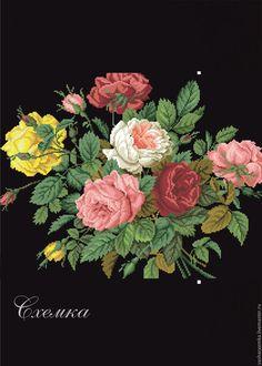 """Купить Ретро схема """" Букет роз"""" - комбинированный, схема для вышивки, схема для вышивки крестом"""