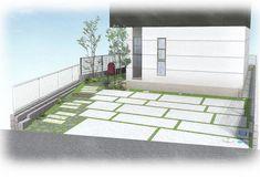 新築外構プラン 石畳風コンクリート駐車場と草目地でナチュラルオープン外構
