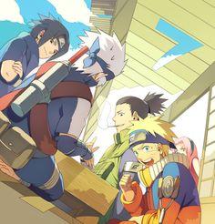 Sasuke, Kid Kakashi, Naruto, Shikamaru and Sakura Naruto Kakashi, Naruto Team 7, Naruto Comic, Naruto Shippuden Sasuke, Gaara, Anime Naruto, Neji E Tenten, Sakura E Sasuke, Naruto Fan Art