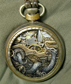"Steampunk art ""Beneath"" by Susan Beatrice metal dragon time thing"