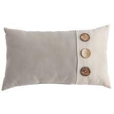 Calliope Button Birch Lumbar Pillow Gray