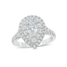 #Valentines #AdoreWe #Zales - #Zales Love's Destiny by Zales 1-3/4 CT. T.w. Certified Pear-Shaped Diamond Frame Engagement Ring in 14K White Gold (I/si2) - AdoreWe.com