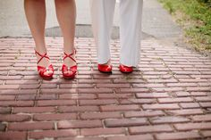 Wedding shoes don't need to be nude! This pop of red screams fun.