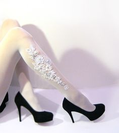 Bridal floral lace and Pearls TATTOO Tights Or Stockings - Pantyhose- colour Matt Ivory- Emma Jewel. $52.00, via Etsy.