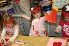Lacing hearts. A simple activity for a preschool or kindergarten valentine's party.