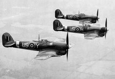 Three Hawker Typhoon fighter aircrafts of the British Royal Air Force, 1943.