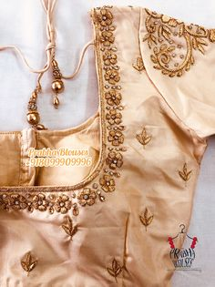 White Blouse Designs, Bridal Blouse Designs, Maggam Work Designs, Pattu Saree Blouse Designs, Designer Blouse Patterns, Embroidery Blouses, Pearl Embroidery, Simple Embroidery, Embroidery Designs