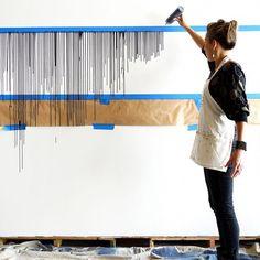 Diy Wall Painting, Diy Wall Art, Diy Wall Decor, Diy Home Decor, Room Decor, Wall Décor, Creative Wall Painting, Painted Wall Art, Hand Painted Wallpaper