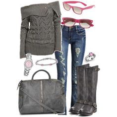 Love the sweater and the jeans but I'd put more color by adding it in through the accessories.
