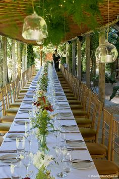 A classic Wilde Bunch long table design at Maunsel House in the outdoor pergola. A very 'Natural' design with hanging ferns and tea-lights that sparkles the sun goes down. Hanging Ferns, Natural Design, Outdoor Pergola, Wedding Receptions, Perfect Place, Summer Wedding, Sparkles, Tea Lights, Wedding Flowers
