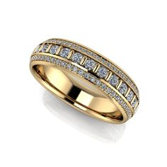 Wedding band featuring 151 diamonds, G/H SI1 quality, 1.42 ct. The band measures 6mm in width. 2489