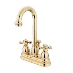 Elements of Design EB3612AX Chicago Polished Brass Deck Mount Faucet with Metal Crosses