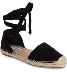 Shop for Rosette Ankle Wrap Espadrille Flat by Steve Madden at ShopStyle. Closed Toe Summer Shoes, How To Wear Ankle Boots, White Espadrilles, Steve Madden Flats, Suede Shoes, Anklet, Womens Flats, Me Too Shoes, Fashion Shoes