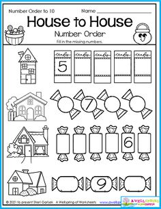 Kids fill in the missing numbers beginning with numbers other than one in this House to House Halloween worksheet. You'll find this page in my AWESOME Halloween Counting Worksheets for Kindergarten 30 page set. It includes count to 5, count to 10, count to 15, count to 20, color by number, number order and more to fill your holiday math lessons. Please check it out!