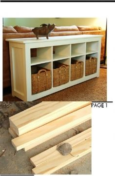 Sofa Table Plans- only i want to modify so middle sections are low for putting shoes on