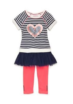Flapdoodles Girls' Nautical Heart French Terry Dress Set Toddler Girls - Stripe - 2T