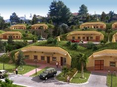 neat concept for an earth-sheltered neighborhood (CGI concept - origin unknown) Earthship, Green Architecture, Organic Architecture, Architecture Design, Sustainable Design, Sustainable Living, Casa Dos Hobbits, Architecture Organique, Earth Sheltered Homes
