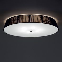 """Lilith PL Ceiling Light..  21.66"""" diam or 28""""D x 5.5""""H.  Black threaded cotton shade; frosted glass bottom diffuser.  4 or 6x 40watt A26.  Use dimmable LED instead"""