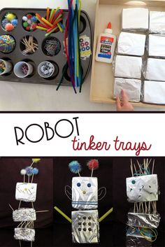 R is for Robot! Fun and easy to prepare tinker tray idea for kids! R is for Robot! Fun and easy to prepare tinker tray idea for kids! Robots For Kids, Art For Kids, Reggio Emilia, Build A Robot, Robot Theme, Space Theme, Preschool Activities, Preschool Plans, Preschool Decor