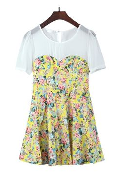 Yellow Floral Print Round Collar Short Sleeve Top