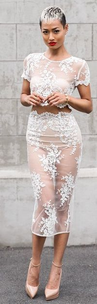 White Romantic Sheer Lace Skirt And Top Suit