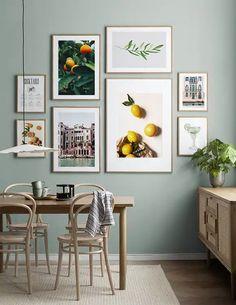 Lovely Lemons gallery wall Collage Mural, Art Mural, Poster Collage, Cactus Wall Art, Cactus Print, Kitchen Prints, Kitchen Wall Art, Kitchen Gallery Wall, Gold Poster