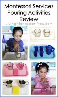 Read about Montessori Services pouring activities along with links to a variety of reviews of Montessori Services products for Montessori schools, preschools, homeschools, and families