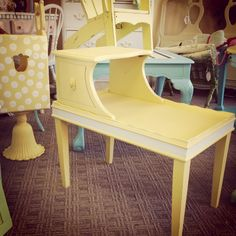 Kids room furniture.  Yellow Telephone Table!  Lots of furniture and repurposed / recreated pieces at Vintage Interiors in Layton, UT