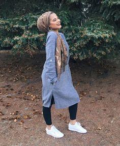 HIjabi Fashion. Jean Dress. White Sneakers.