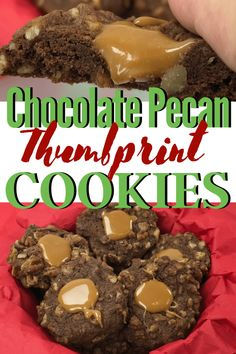These made from scratch Chocolate Pecan Thumbprint cookies are light and soft with just the right amount of chewy. The cocoa powder makes them chocolate all the way through. Single Serve Desserts, Desserts For A Crowd, Winter Desserts, Great Desserts, Delicious Desserts, Delicious Dishes, Fudge Recipes, Candy Recipes, Cookie Recipes