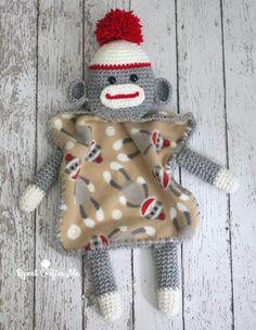 Crochet Sock Monkey Lovey Blanket, Repeat Crafter Me |  Grátis, inglês / Free pattern, English (scheduled via http://www.tailwindapp.com?utm_source=pinterest&utm_medium=twpin&utm_content=post100724169&utm_campaign=scheduler_attribution)