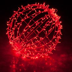 Red light balls for outdoor Christmas decorating.