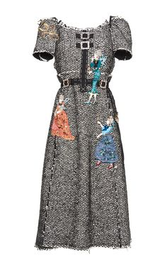 Distressed Tweed Off The Shoulder Dress by DOLCE & GABBANA for Preorder on Moda Operandi