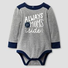 Baby Boys' Long-Sleeve Mom's Side Bodysuit Grey 6-9 Months - Cat & Jack Baby™ : Target