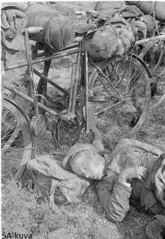 Tired Jäger (Jääkäri) getting rest after long march to the east Korpijärvi…