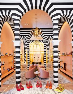 Patterns-stripes, black and white, shoe store, Ryan Korban, gold shelving, Aquazzura