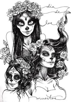 day of the dead + beauties + art.