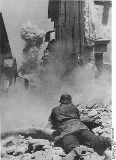 German soldier during street fighting