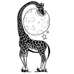 A creative tattoo design of a giraffe that is eating the Moon.