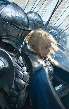 Перед битвой арт, рыцари, fantasy, wlop, Король Артур, saber, fate-stay night, аниме