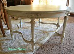 white chabby chic furniture, vanity table   Found on aurora-patina.com