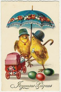 Easter, Chick Couple with a Baby Carriage, funny old postcard