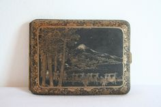 A Japanese etched cigarette case. by DecadesOfFunkiness Mount Fuji, Cigarette Case, Interesting History, 1940s, War, Japanese, Etsy, Fuji Mountain, Japanese Language