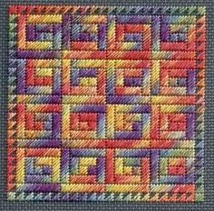 Needlepoint block in Log Cabin pattern