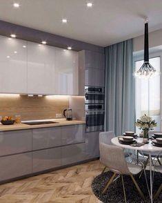inspiring modern contemporary kitchen design ideas 58 - Home sweet home - Kitchen Room Design, Kitchen Cabinet Colors, Kitchen Layout, Home Decor Kitchen, Interior Design Kitchen, Home Design, Kitchen Furniture, Kitchen Ideas, Kitchen Inspiration