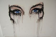 Obsessed with drawing and painting eyes.    Love the dripping paint.