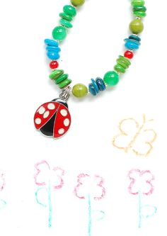 Kids necklace  ladybug necklace by DosMadamas on Etsy, $15.00